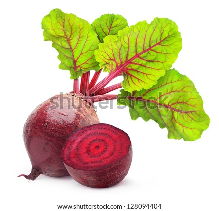 Fresh beetroot with leaves isolated on white