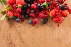 fresh berries fruits and leaf