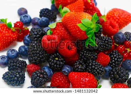 fresh berries fruits with white background includes strawberry, raspberry,blue berry,black berry etc. #1481132042