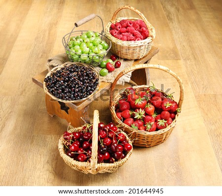 Fresh berries in basket on wooden background