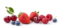 fresh berries isolated on white background, full depth of field