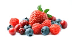 Fresh berries isolated on white backgrounds.