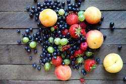 fresh berries on the table, top view, food closeup