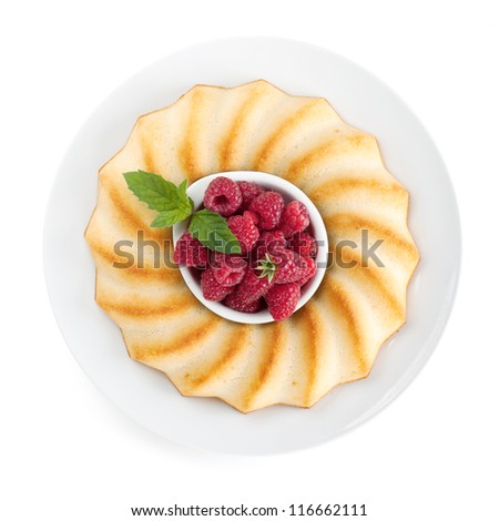 Fresh berries pie on plate. View from above. Isolated on white background