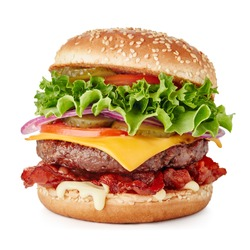 fresh big cheeseburger isolated on white background