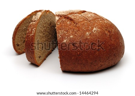 Fresh black round bread, sliced, isolated on white background