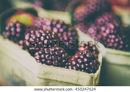fresh blackberry at market in...