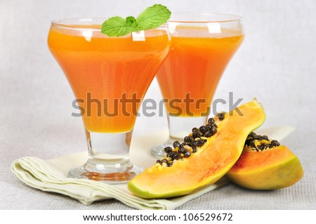 Fresh blended papaya juice with a mint leaf
