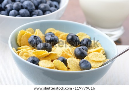 Fresh blueberries in a bowl of cornflakes