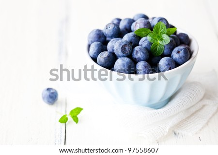 fresh blueberries in a bowl with copy space