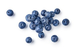 Fresh blueberries isolated on white background. Top vew.