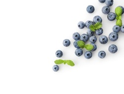 Fresh blueberries isolated on white background. Top view