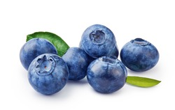 Fresh blueberries with bluberry leaves isolated on white background.