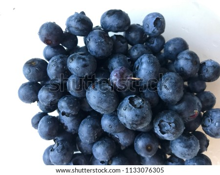 fresh blueberries with water drops #1133076305
