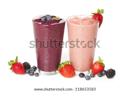 Fresh Blueberry and Strawberry Smoothie on a background