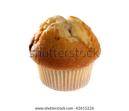Fresh blueberry muffin isolated on white background with copy space