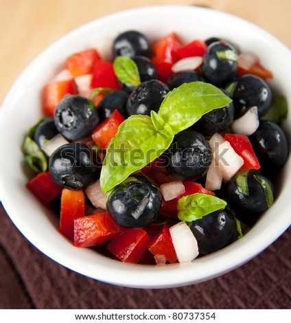 Fresh Blueberry Salsa in Small Bowl