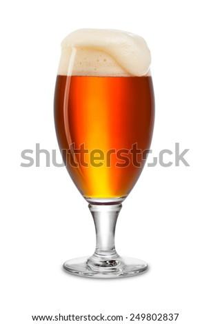 fresh bock beer in tulip on white background