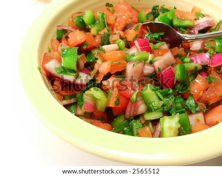 fresh bowl of homemade pico de gallo - stock photo