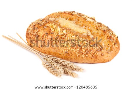 Fresh bread and bran. White background