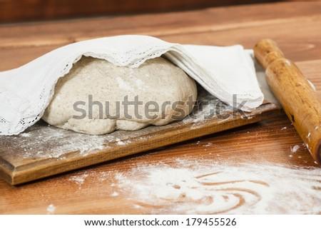 Fresh bread dough ready for baking