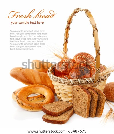 fresh bread in the basket isolated on white background