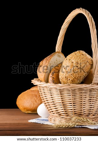 fresh bread isolated on black background