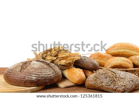 fresh bread  on the white background #125361815