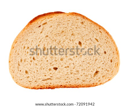 Fresh bread slice isolated on white background