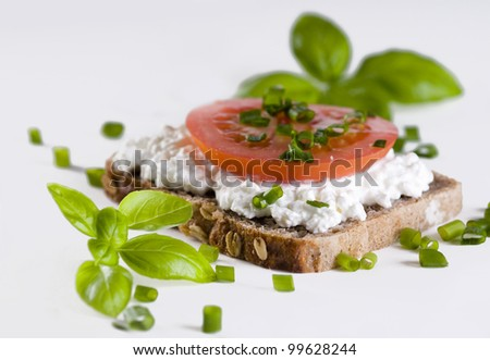 Fresh bread witch cottage cheese