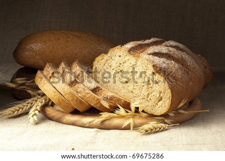Fresh bread with ear of wheat