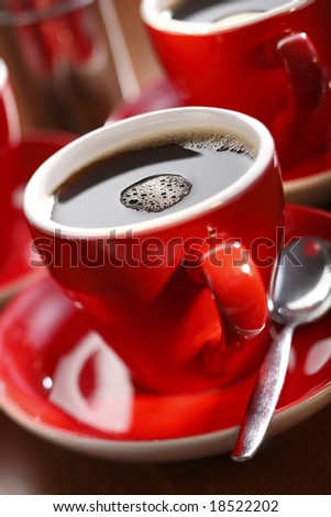 fresh brewed coffee in a red cup