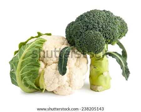 Fresh Broccoli and Cauliflower isolated on white #238205143