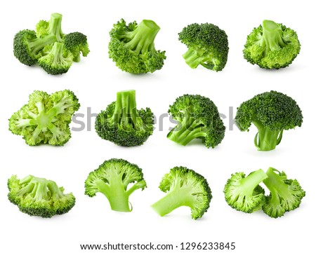 Fresh broccoli blocks for cooking isolated on white background.