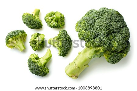 Fresh broccoli isolated on white background. Top view