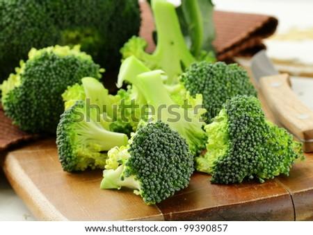 Fresh broccoli on a wooden board