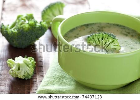 fresh broccoli soup in bowl