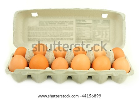 Fresh brown country eggs packaged in a dozen carton