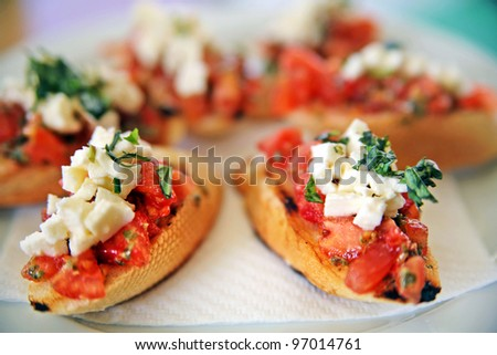 Fresh bruschetta appetizer at restaurant in Czech Republic