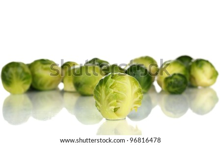 Fresh brussel sprouts isolated on white