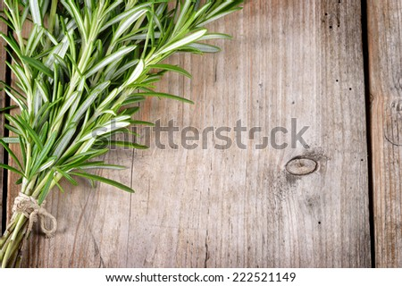 Fresh bunch of rosemary on wooden table. Aromatic evergreen herb, many culinary and medicinal uses.