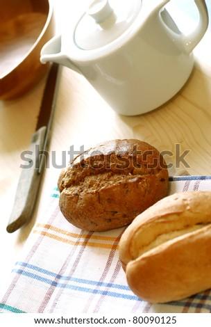 fresh buns on table