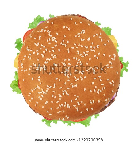 Fresh burger isolated on white background. Top view #1229790358
