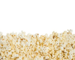 Fresh butter popcorn with the copy space on the white background.