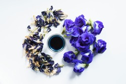 fresh butterfly pea flowers and dried with juice on white background