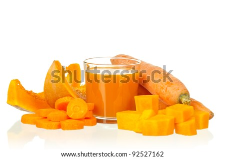 Fresh carrot and pumpkin juice isolated on white background