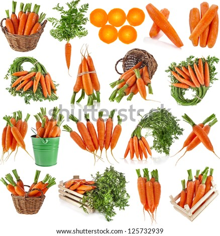 fresh carrot fruits collage collection set, isolated on white background