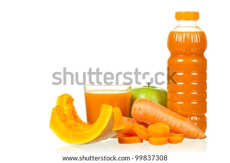 Fresh carrot, pumpkin and apple juice isolated on white background