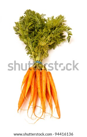 Fresh carrots isolated on a white studio background.