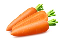 Fresh carrots isolated on white background. Package design element with clipping path